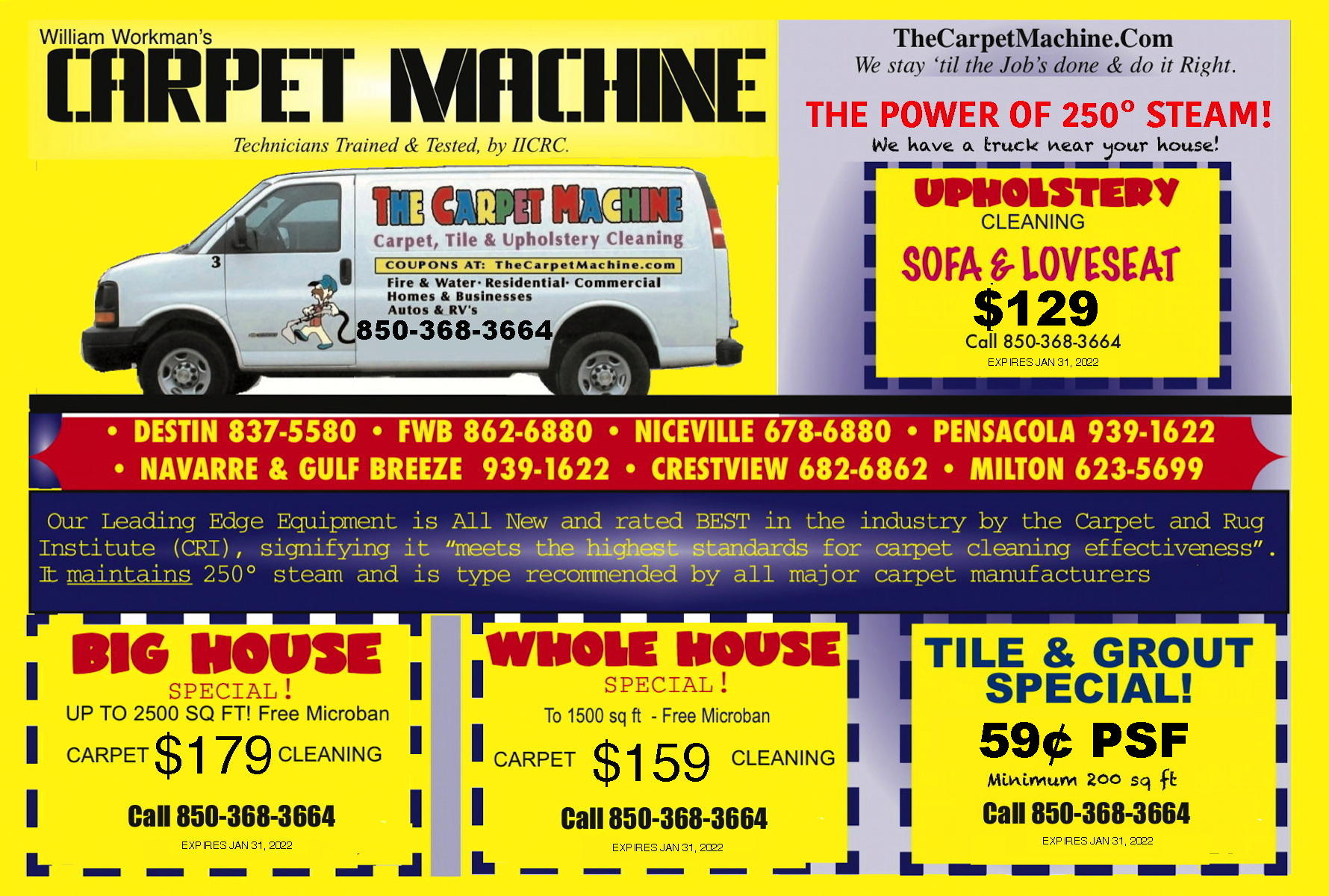 NW Florida Panhandle Carpet, Tile & Upholstery Cleaning Coupons